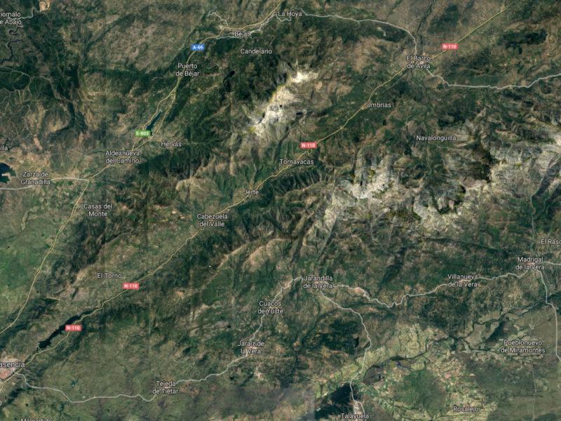 Valle del jerte mapa satelite
